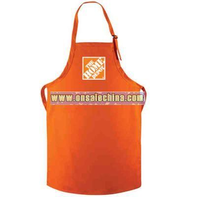 Long bib apron with adjustable neckband