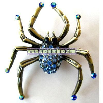 BRASS PLATED IRIDESCENT BLUE FEET SPIDER PIN BROOCH