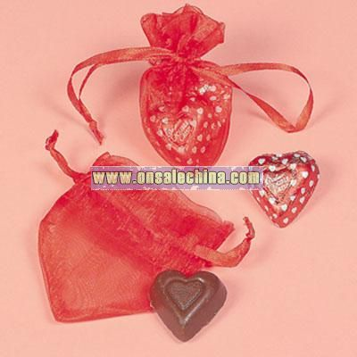 Red Heart-Shaped Organza Bags