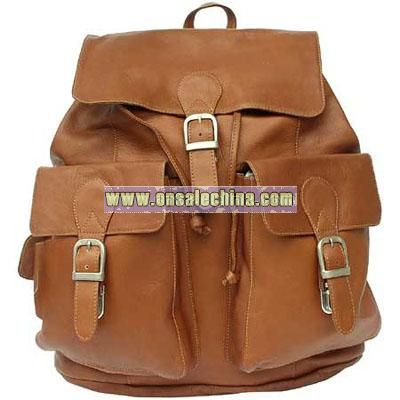 Leather Goods Large Buckle Flap Backpack