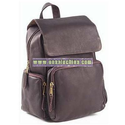 Leather Bags Mid-Size Multi Pocket Backpack