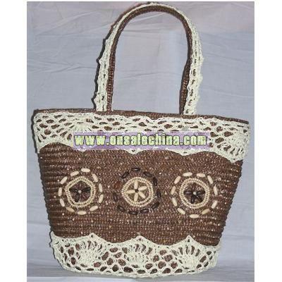 Nature Paper Straw Beach Handbags