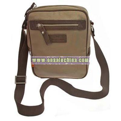 Light Brown Nylon Reporter's Bag by Simon Carter