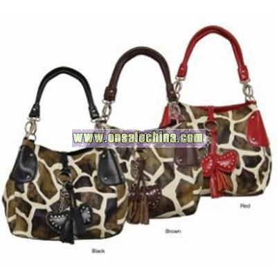 Giraffe Print Double Strap Handbag