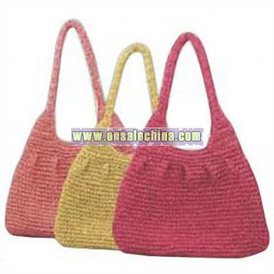 Eco Straw Crochet Hobo Bag