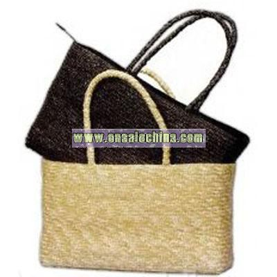 Sewn Braid Straw Tote Bag