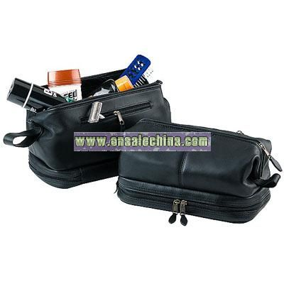 Royce Leather Toiletry Bag and Zippered Bottom Compartment