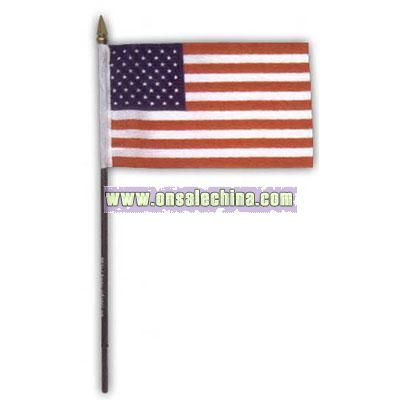 Hand held U.S. polyester flag with 12