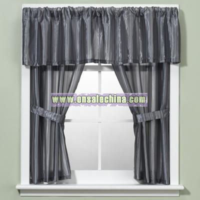 Nice Andre Stripe Blue Window Curtain Valance