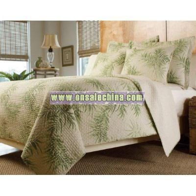 Tropical Palm Tree Green Cream Bedding Quilt Set