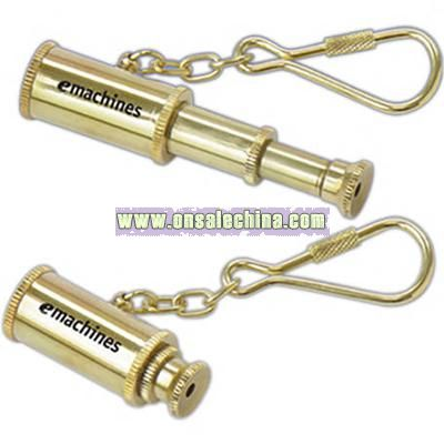 Mini Brass 3 Section Telescope With KeyChain