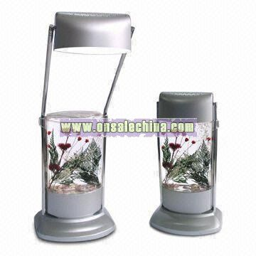 Acrylic Liquid Filled LED Reading Lamp with Fancy Sea Flowers