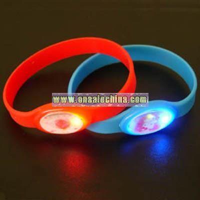 LED Light Up Flashing Silicone Bracelet and Wrist Strap