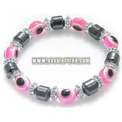 Evil Eye And Protection Magnetic Pink Eyes Hematite Bracelet