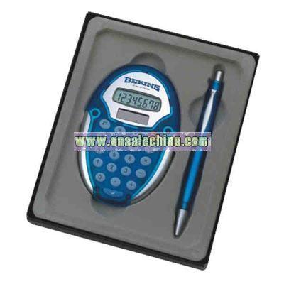 modern oval calculator and pen set