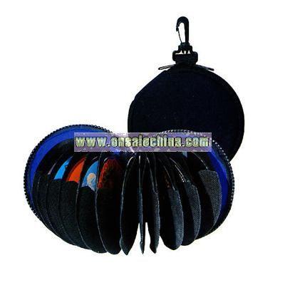 Neoprene zippered CD/DVD holder with belt hook