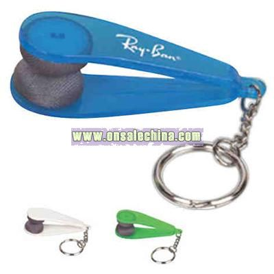 Non-abrasive microfiber glasses cleaner with key chain
