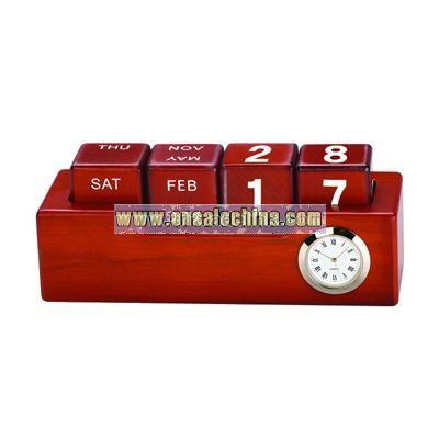 Wooden Desk Clock with DIY Calendar