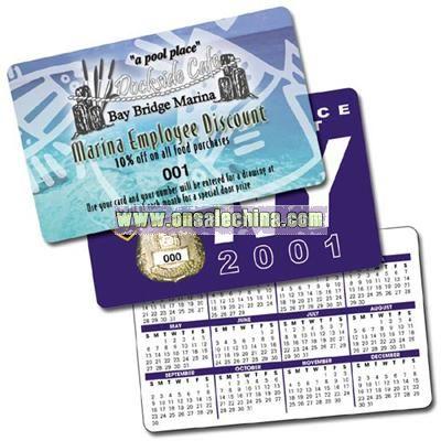 Laminated Plastic Wallet Card Calendar