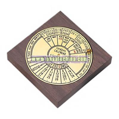 Forty year calendar with wooden base