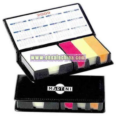 Faux leather executive memo desk set