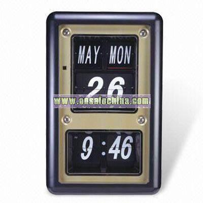 Silver Flip Calendar Wall Clock
