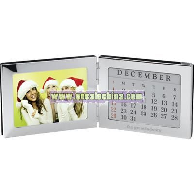 Folding silvertone metal frame with Perpetual monthly view calender