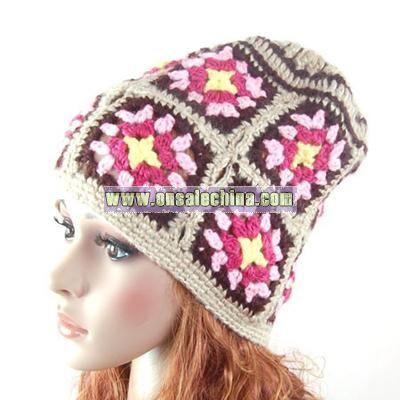 Ski Wool Hat Cap Hand knit