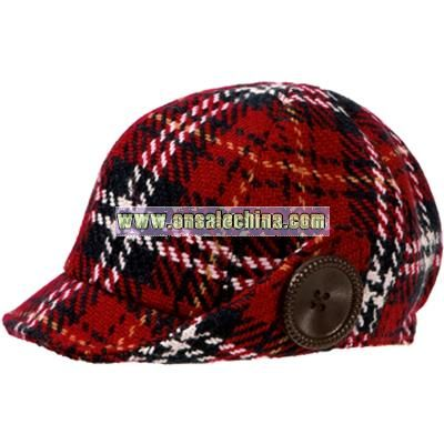 red plaid button cap