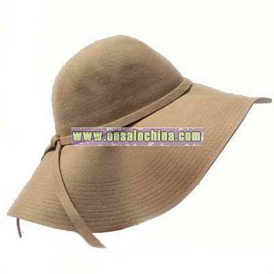 CAMEL WIDE BRIM DIVA STYLE FLOPPY HAT