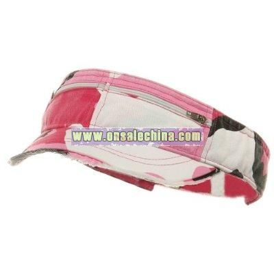Washed Cotton Twill Visor-Pink Camo