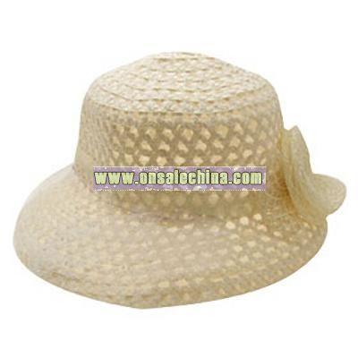 Vintage Designed Buff Ladies Cap Wide Brim Hat with White Veil