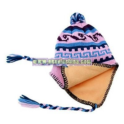 Winter Jacquard Ski Beanie Hat with Ear Flaps