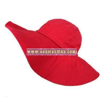 CHERRY RED WIDE BRIM COTTON FLOPPY BEACH SUN HAT