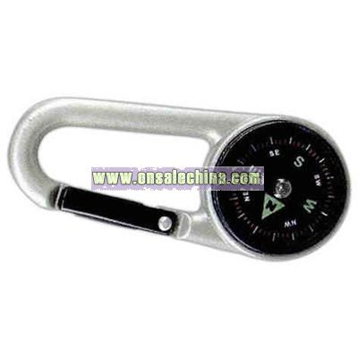 Pocket compass with carabiner attached