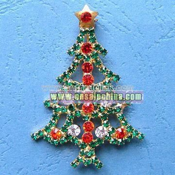 Christmas Tree-shaped Brooch with Gold Plating