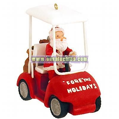 Santa in Golf Cart Ornament