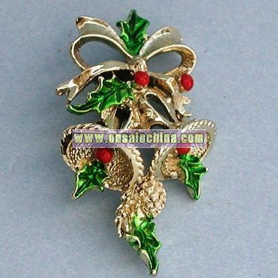 Vintage Christmas BELL pin brooch