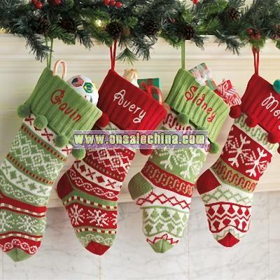 knit argylesnowflake stockings