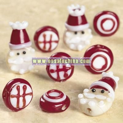 Santa & Ho Ho Ho Lampwork Glass Bead Mix