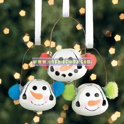 Jingle Bell Snowman Ornaments With Ear Muffs