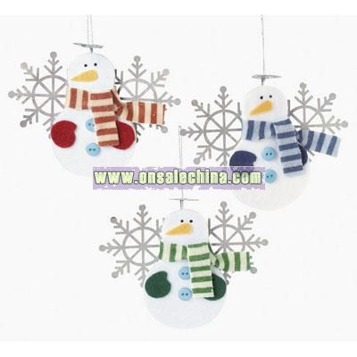 Snowmen With Snowflake Wings Ornaments
