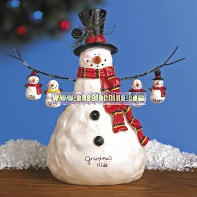 Snowman With Snow Kid Ornaments