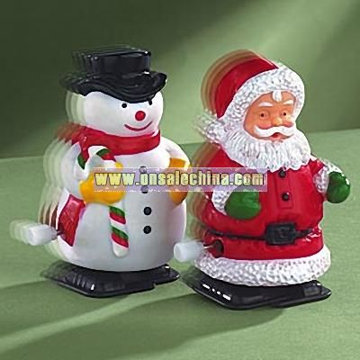 Wind Up Walking Snowman and Santa