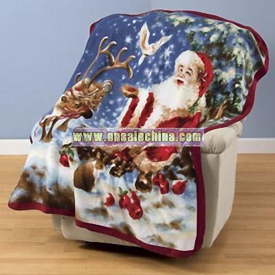Santa Reindeer Fleece Blanket