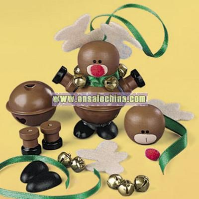 Metal Jingle Bell And Wooden Reindeer Ornament Craft Kit