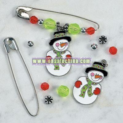 Beaded Snowman Charm Pin Craft Kit