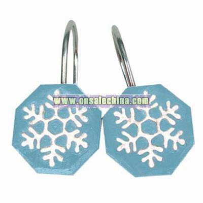 Blue Snowman Shower Curtain Hooks - Set of 12