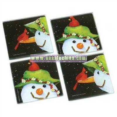 Smiley Snowman Coaster Set