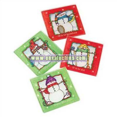 Playful Snowman Coaster Set